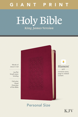 KJV Personal Size Giant Print Bible, Filament Enabled Edition (Leatherlike, Diamond Frame Cranberry) Cover Image