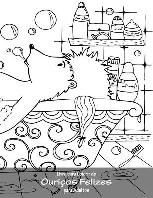Livro para Colorir de Ouriços Felizes para Adultos Cover Image