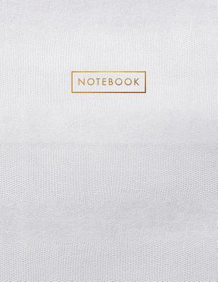 Notebook: White Snake Skin Style - Embossed Gold Style Lettering - Softcover - 150 College-ruled Pages - 8.5 x 11 size Cover Image