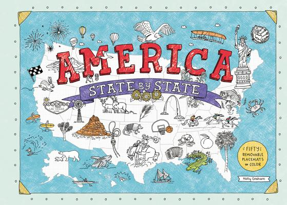 America State by State: Fifty Removable Placemats to Color Cover Image