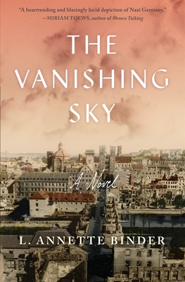 cover art for The Vanishing Sky. The skyline of a bomb damaged German city from World World 2 is displayed against a pink sunset.