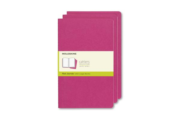 Moleskine Cahier Journal, Large, Plain, Kinetic Pink (8.25 x 5) Cover Image