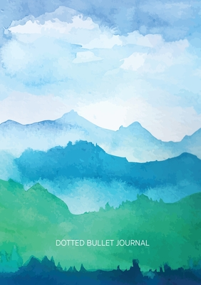 Watercolor Blue & Green Hills - Dotted Bullet Journal: Medium A5 - 5.83X8.27 Cover Image