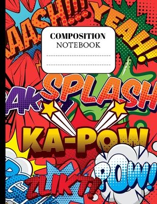 Composition Notebook: Comic gifts for boys. Pretty Superhero Cartoon Comic Wide Ruled Paper Notebook Journal (8.5