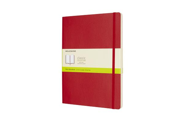 Moleskine Classic Notebook, Extra Large, Plain, Scarlet Red, Soft Cover (7.5 x 10) Cover Image