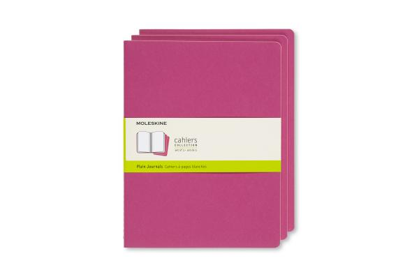 Moleskine Cahier Journal, Extra Large, Plain, Kinetic Pink (7.5 x 9.75) Cover Image