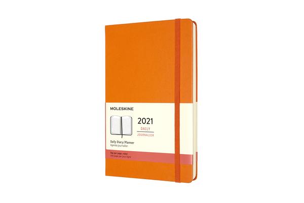 Moleskine 2021 Daily Planner, 12M, Large, Cadmium Orange, Hard Cover (5 x 8.25) Cover Image