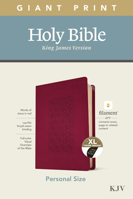 KJV Personal Size Giant Print Bible, Filament Enabled Edition (Leatherlike, Diamond Frame Cranberry, Indexed) Cover Image