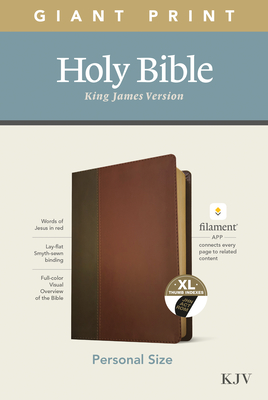 KJV Personal Size Giant Print Bible, Filament Enabled Edition (Leatherlike, Brown/Mahogany, Indexed) Cover Image