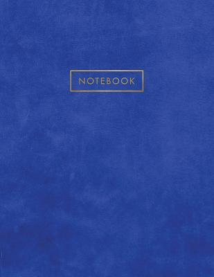 Notebook: Blue Suede Leather Style - Gold Lettering - Softcover - 150 College-ruled Pages - 8.5 x 11 size Cover Image