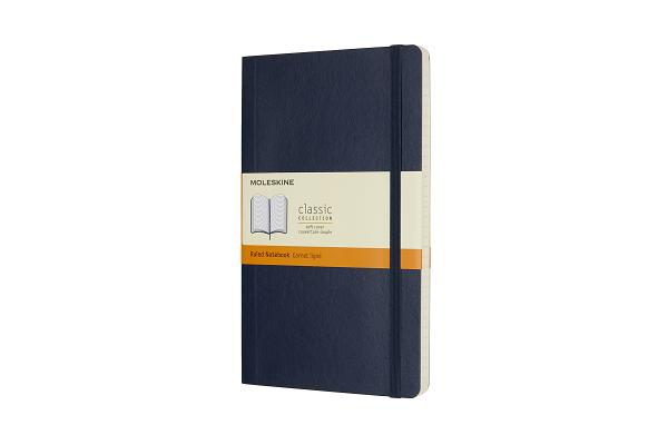 Moleskine Classic Notebook, Large, Ruled, Sapphire Blue, Soft Cover (5 x 8.25) Cover Image