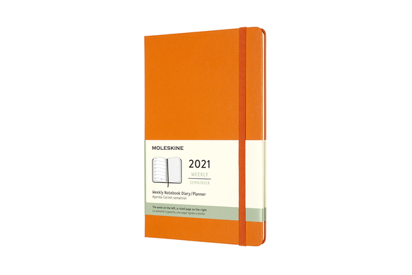 Moleskine 2021 Weekly Planner, 12M, Large, Cadmium Orange, Hard Cover (5 x 8.25) Cover Image