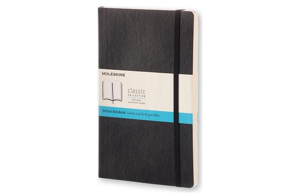 Moleskine Classic Notebook, Large, Dotted, Black, Soft Cover (5 x 8.25) Cover Image