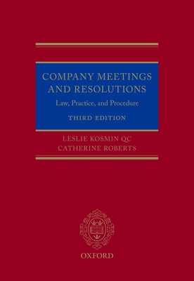 Company Meetings and Resolutions: Law, Practice, and Procedure Cover Image