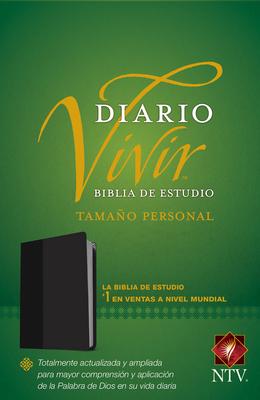 Biblia de Estudio del Diario Vivir Ntv, Tamaño Personal (Letra Roja, Sentipiel, Negro) Cover Image