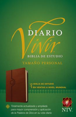 Biblia de Estudio del Diario Vivir Ntv, Tamaño Personal (Letra Roja, Sentipiel, Café Claro) Cover Image