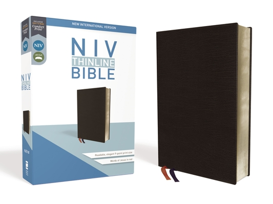 NIV, Thinline Bible, Bonded Leather, Black, Red Letter Edition Cover Image