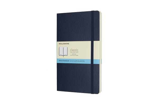 Moleskine Classic Notebook, Large, Dotted, Sapphire Blue, Soft Cover (5 x 8.25) Cover Image