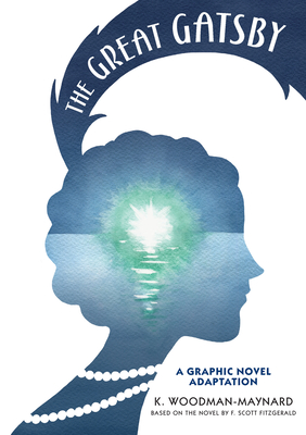 Cover art for The Great Gatsby graphic novel. A silhouette of a short haired woman with a feather hairpiece and a long pearl necklace.