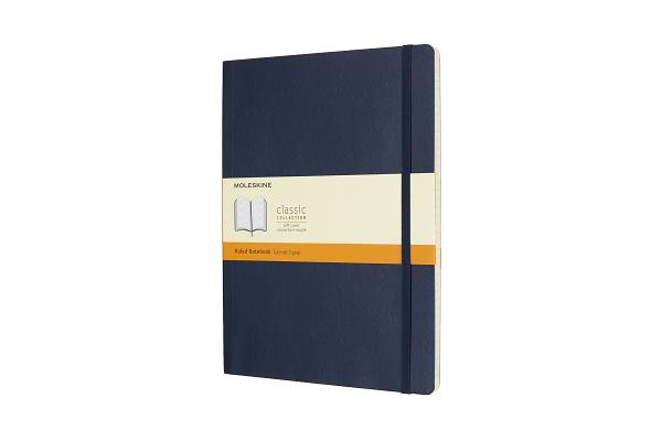 Moleskine Classic Notebook, Extra Large, Ruled, Sapphire Blue, Soft Cover (7.5 x 10) Cover Image