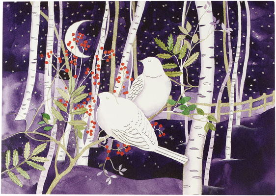 Doves in White Birches Deluxe Boxed Holiday Cards Cover Image