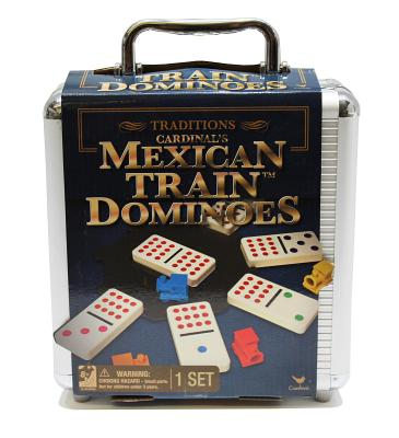 Traditions Mexican Train Dominoes in Aluminum Carry Case Cover Image