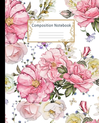 Composition Notebook: Wide Ruled Lined Paper Notebook Journal: Watercolor Pink Roses Workbook for Boys Girls Kids Teens Students for Back to Cover Image