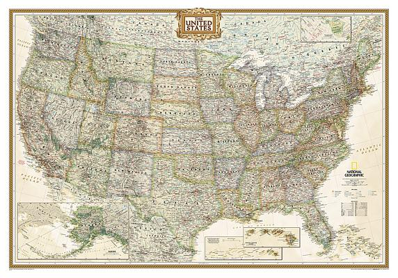 National Geographic: United States Executive Wall Map - Laminated (43.5 X 30.5 Inches) Cover Image