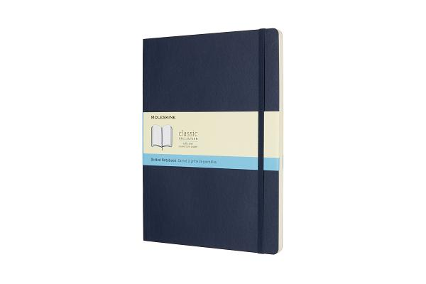 Moleskine Classic Notebook, Extra Large, Dotted, Sapphire Blue, Soft Cover (7.5 x 10) Cover Image