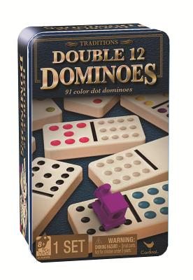 Traditions Double 12 Dominoes in Tin with Trains Cover Image