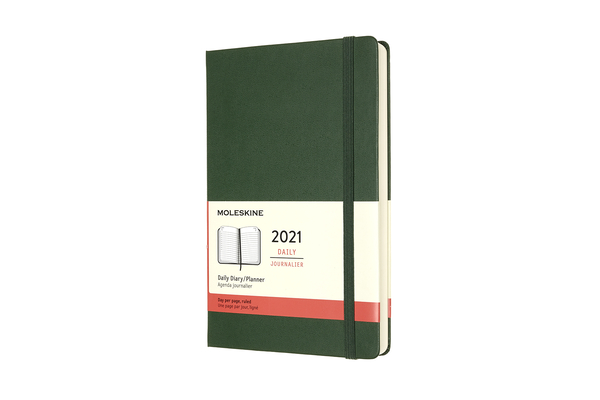 Moleskine 2021 Daily Planner, 12M, Large, Myrtle Green, Hard Cover (5 x 8.25) Cover Image
