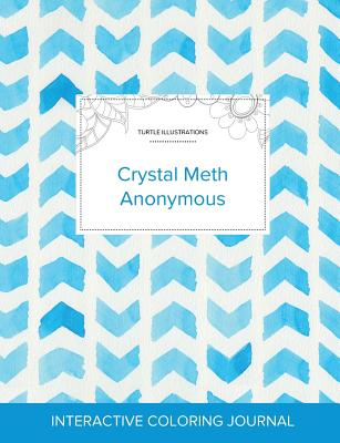 Adult Coloring Journal: Crystal Meth Anonymous (Turtle Illustrations, Watercolor Herringbone) Cover Image