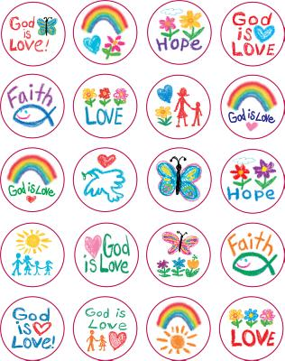 Faith Sticker Pack: Kid-Drawn (Shape Stickers) Cover Image
