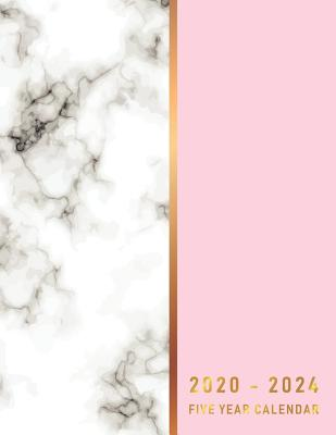 2020-2024 Five Year Calendar: Pink Gold Marble about calendar of 60 Month and appointment 5 year for schedule organizer management Cover Image
