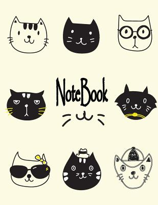 Notebook: Cute cat on cream cover and Dot Graph Line Sketch pages, Extra large (8.5 x 11) inches, 110 pages, White paper, Sketch Cover Image