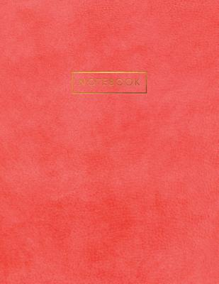 Notebook: Deep Pink Suede Leather Style - Gold Lettering - Softcover - 150 College-ruled Pages - 8.5 x 11 size Cover Image