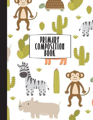 Primary Composition Book: Primary Composition Notebook K-2, Safari Monkey Notebook For Boys, Handwriting Notebook, Kindergarten Composition Book Cover Image