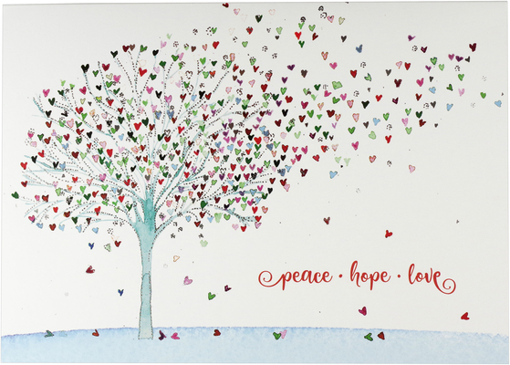 Festive Tree of Hearts Deluxe Boxed Holiday Cards Cover Image