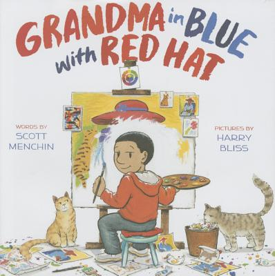 Grandma in Blue with Red Hat Cover
