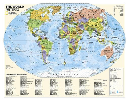 National Geographic: Kids Political World Education: Grades 4-12 Wall Map - Laminated (51 X 40 Inches) Cover Image