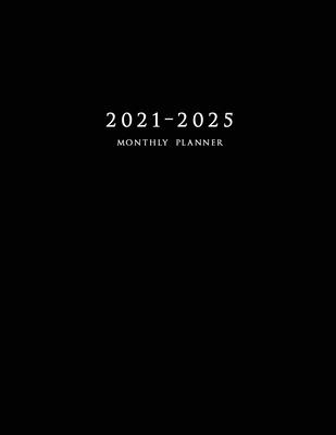 2021-2025 Monthly Planner: Large Five Year Planner with Black Cover Cover Image