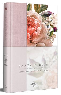 Biblia Reina Valera 1960 letra grande. Tapa Dura, Tela rosada con flores, tamaño manual/Spanish Bible RVR 1960. Handy Size, Large Print, Hardcover, Pink Cover Image