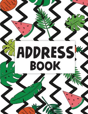 Address Book: Email Address Book And Contact Book(Green Floral Frame Design) - Alphabetical 8.5x11 For Record Contact, Birthday, Ema Cover Image