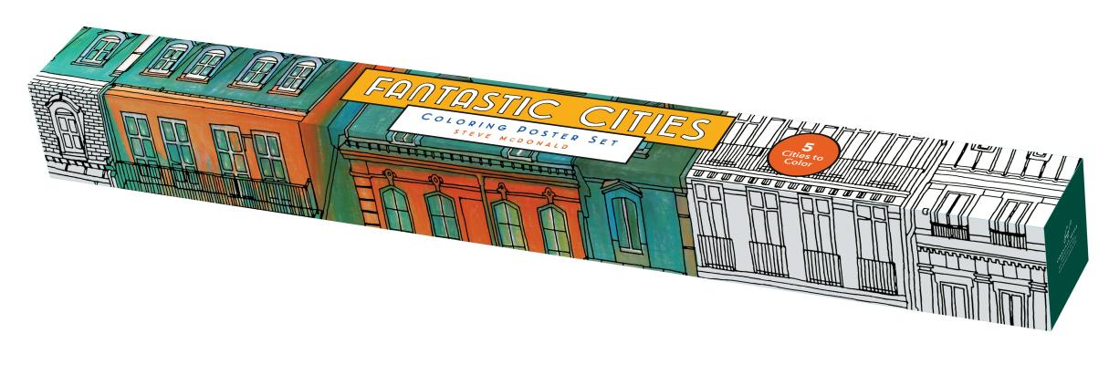 Fantastic Cities Coloring Poster Set Cover Image By Steve McDonald
