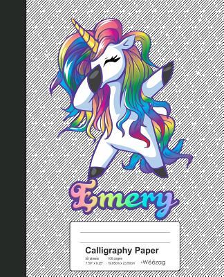 Calligraphy Paper: EMERY Unicorn Rainbow Notebook Cover Image