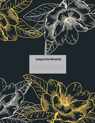 Composition Notebook: Wide Ruled Lined Paper: Large Size 8.5x11 Inches, 110 pages. Notebook Journal: Icy Cyan Flower Workbook for Preschoole Cover Image