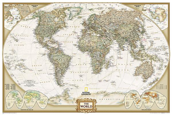 National Geographic: World Executive in Gift Box Wall Map (Poster Size: 36 X 24 Inches) Cover Image