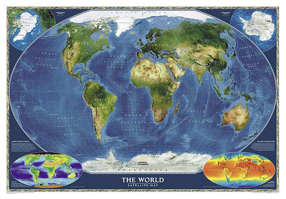 National Geographic: World Satellite Wall Map (43.5 X 30.5 Inches) (National Geographic Reference Map) Cover Image