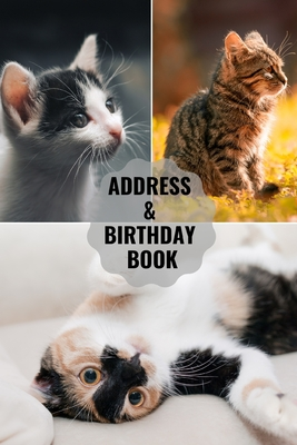 Address & Birthday Book: Large Print - Cat Cover - Address Book for Names, Addresses, Phone Numbers, E-mails and Birthdays Cover Image