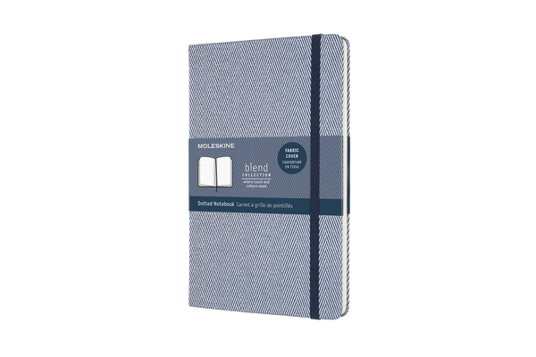Moleskine Blend Limited Collection Notebook, Large, Dotted, Herringbone Blue (5 X 8.25) Cover Image